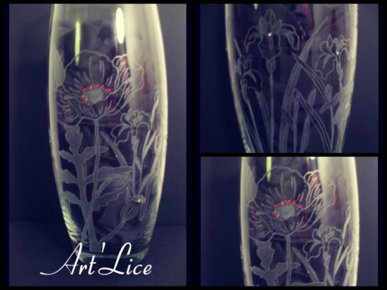 """Vase """"Coquelicot et Iris"""""""